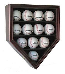 12 Baseball Display Case Wall Cabinet Shadow Box, UV Protect