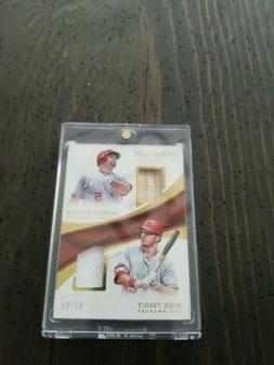 2017 Immaculate Albert Pujols Mike Trout Dual Bat Jersey Gam