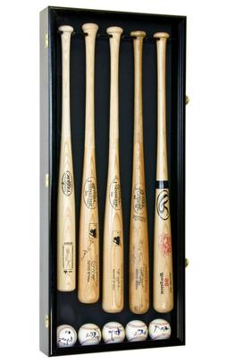 5 Baseball Bat & Ball Cabinet Display Case Wall Mount Holder