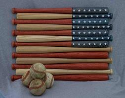 American flag made out of 18 inch baseball bats. Rustic/aged