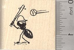 Baseball Ant Rubber Stamp, at Bat
