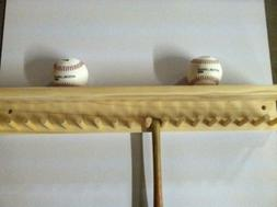 Baseball Bat Rack and Ball Holder Display Natural Finish Mea