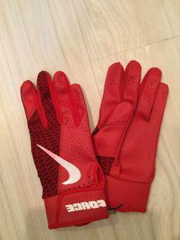 Nike BASEBALL Force Edge Batting Gloves Adult Small Red/Whit