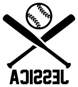 CROSSED BATS and BALL w/Personalized Name Vinyl Decal Sticke