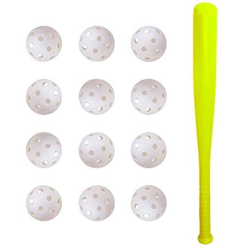 "24"" Plastic Children's Baseball Bat and 12 Poly Baseballs 