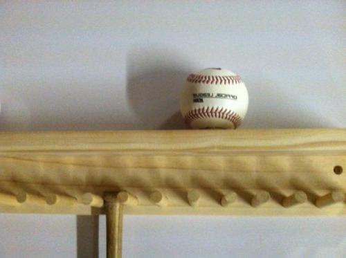 Baseball Bat Rack and Ball Finish Meant to up 17 Mini Collectible Bats and 6 Baseballs