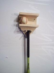 Natural Wood Full Size Baseball Bat Rack Display 4 Baseballs