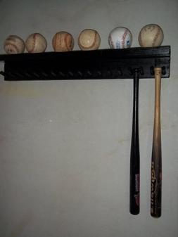 Solid Wood Baseball Mini Size Bat Rack up to 17 Bats 6 Balls