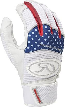 Rawlings WH950BG-USA-89 Workhorse Batting Gloves, Red/White/