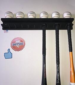 Baseball Bat Rack Ball Holder Display 11 Bats 6 Balls Black